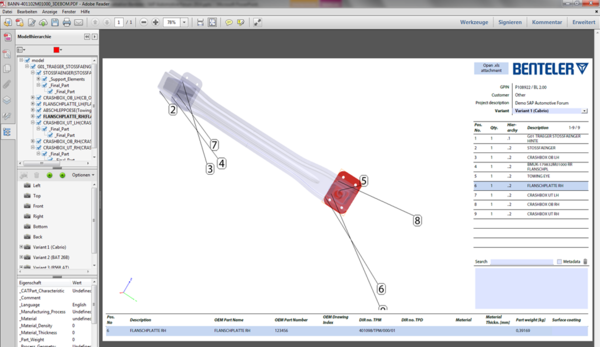 Bill of Materials (BOM) Example in 3D PDF and Use Case