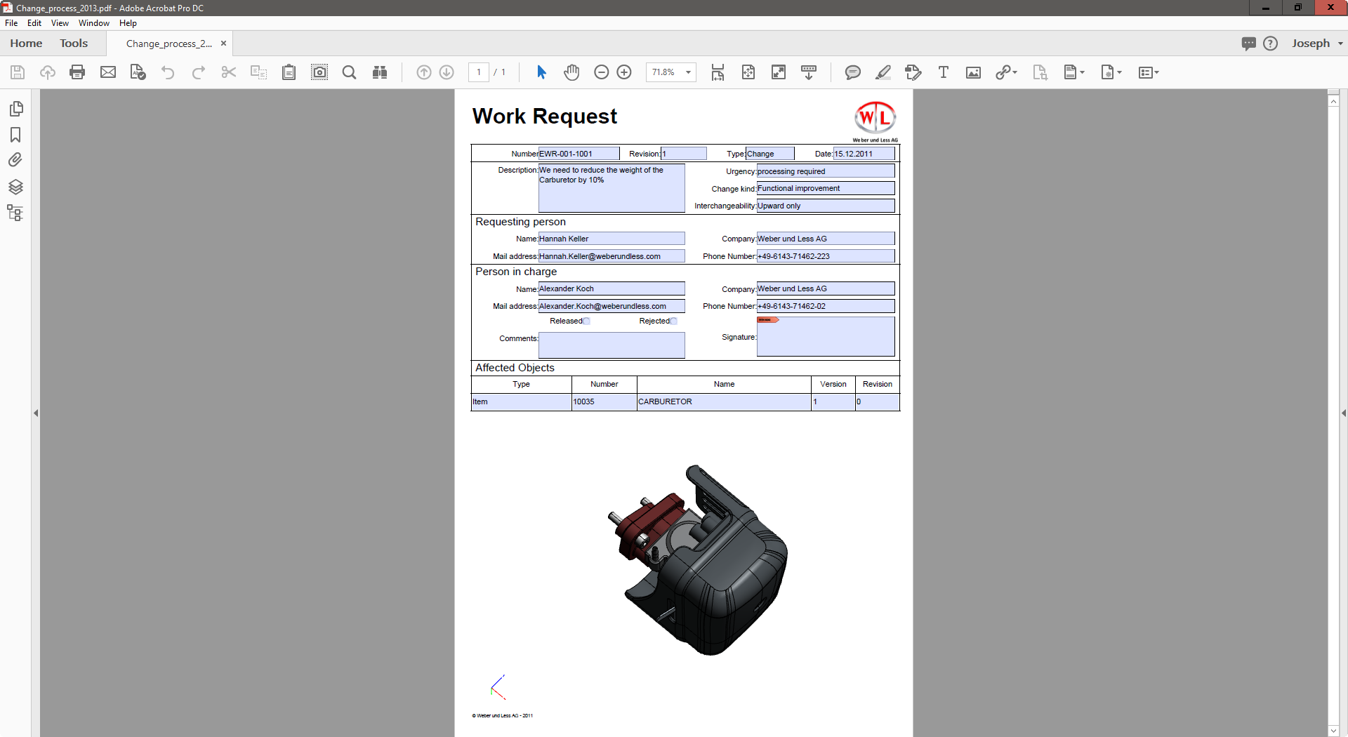 Engineering Change Notice with 3D PDF